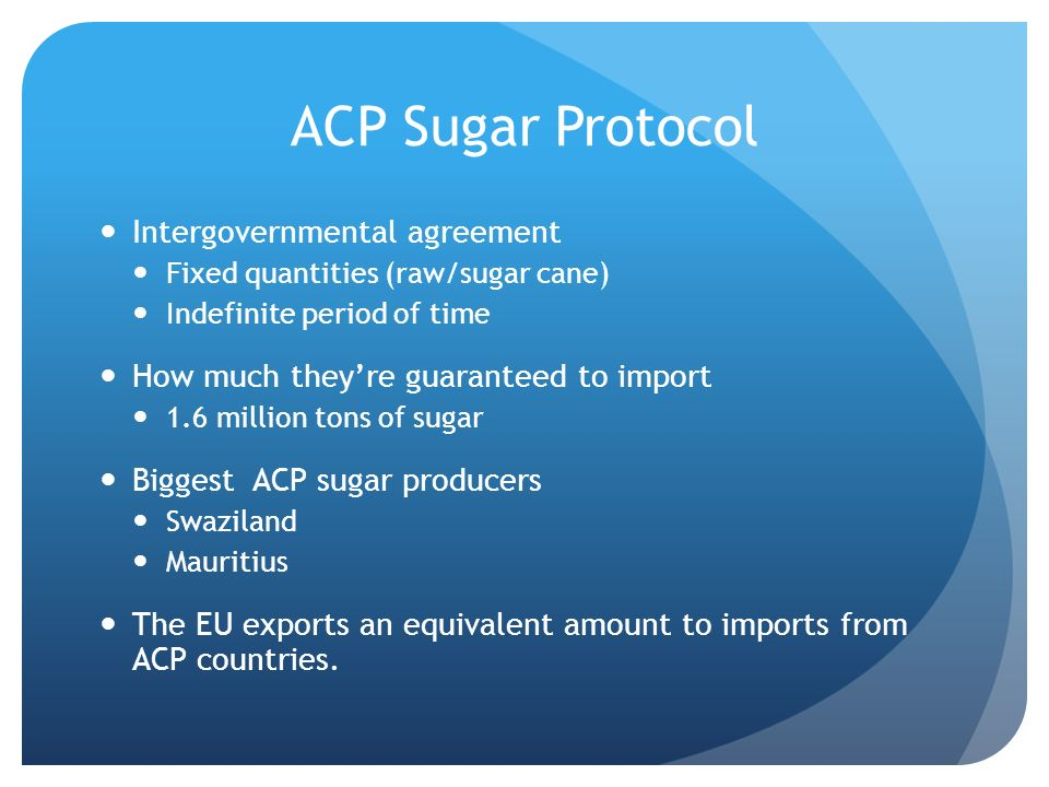 ACP Sugar Protocol Intergovernmental agreement