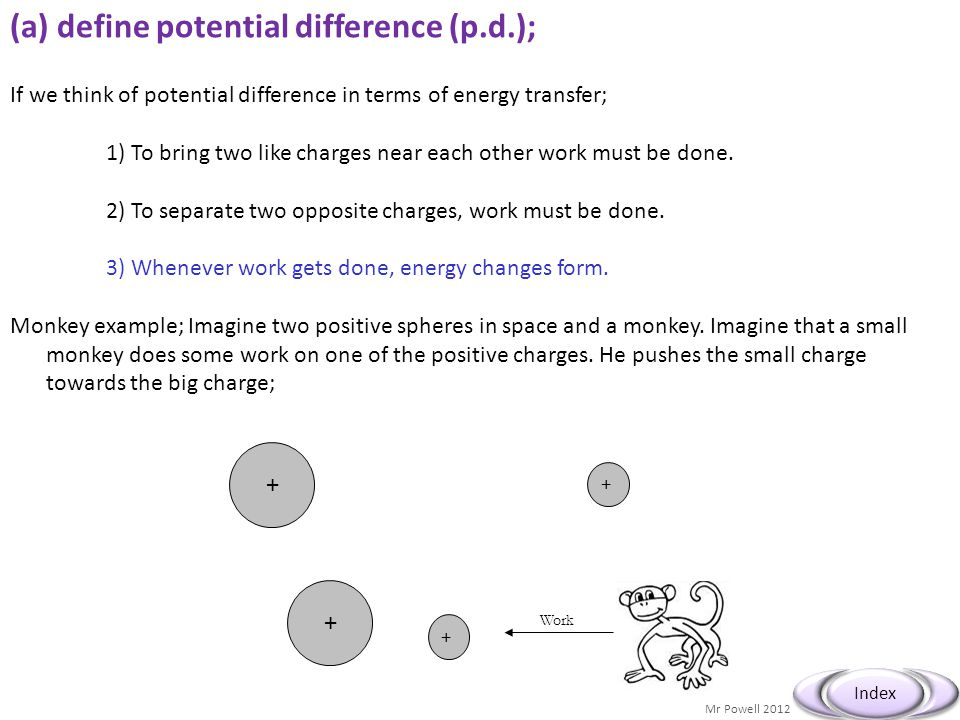 (a) define potential difference (p.d.);