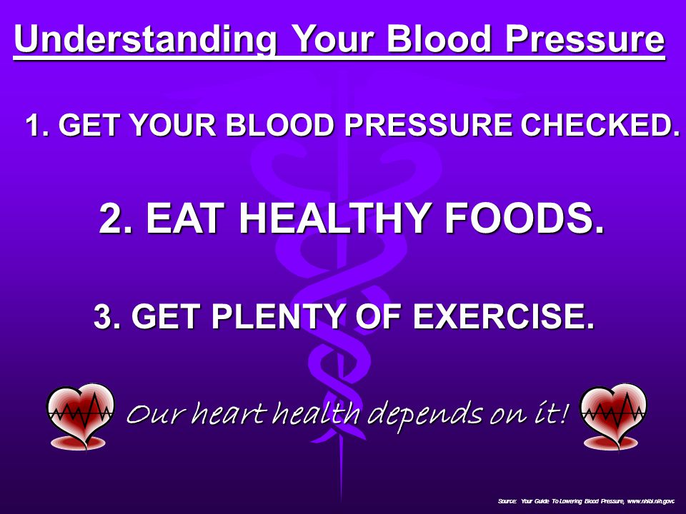 2. EAT HEALTHY FOODS. Understanding Your Blood Pressure