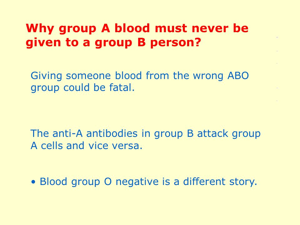 Giving someone blood from the wrong ABO group could be fatal.