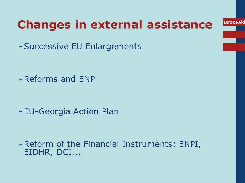 Changes in external assistance