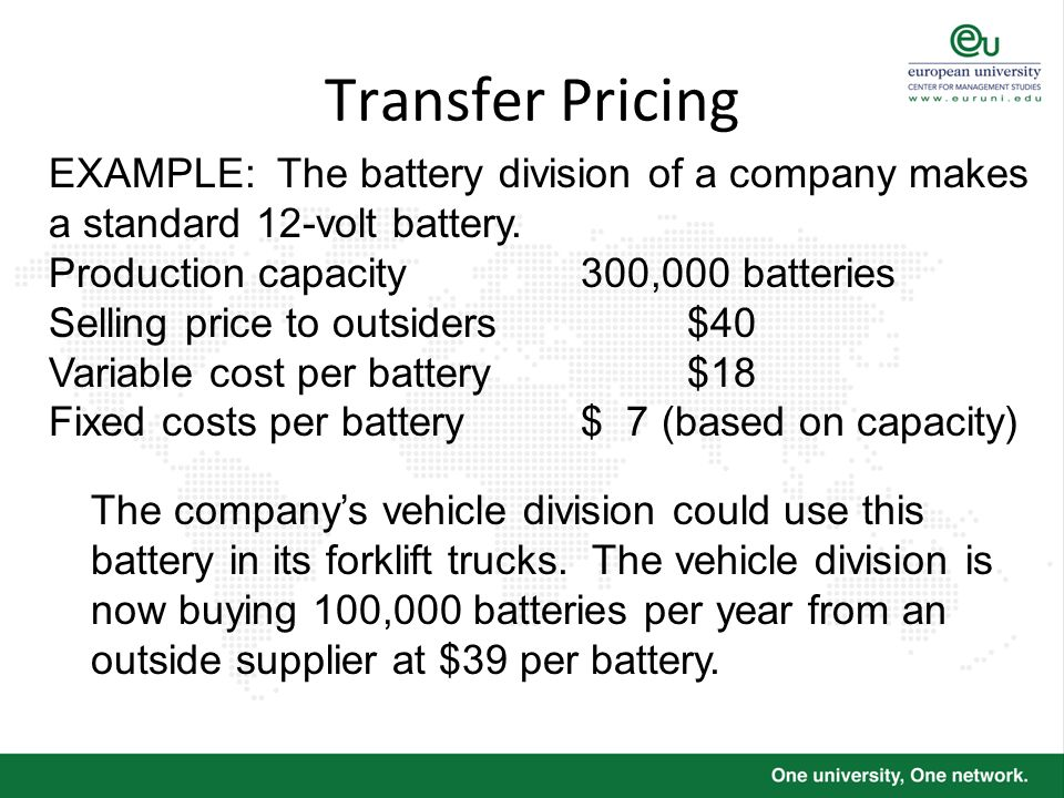 Transfer Pricing EXAMPLE: The battery division of a company makes