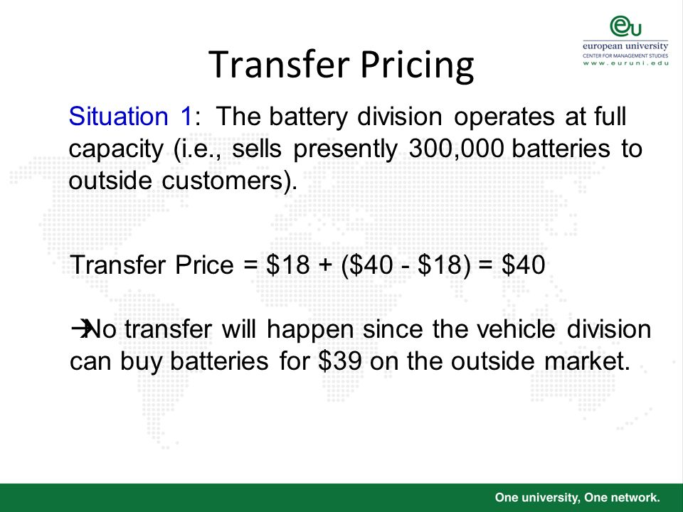 Transfer Pricing Situation 1: The battery division operates at full