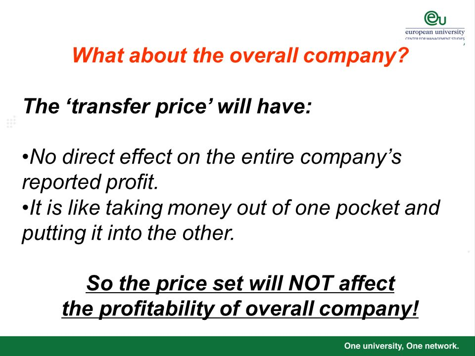 What about the overall company The 'transfer price' will have: