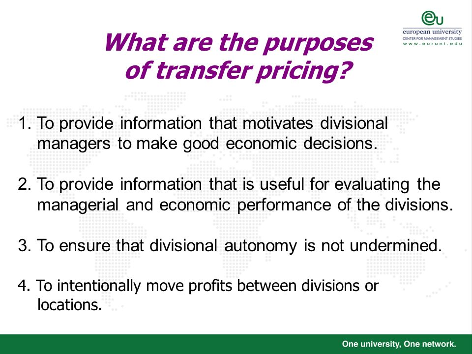 What are the purposes of transfer pricing