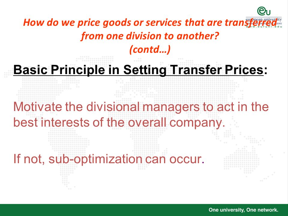 Basic Principle in Setting Transfer Prices: