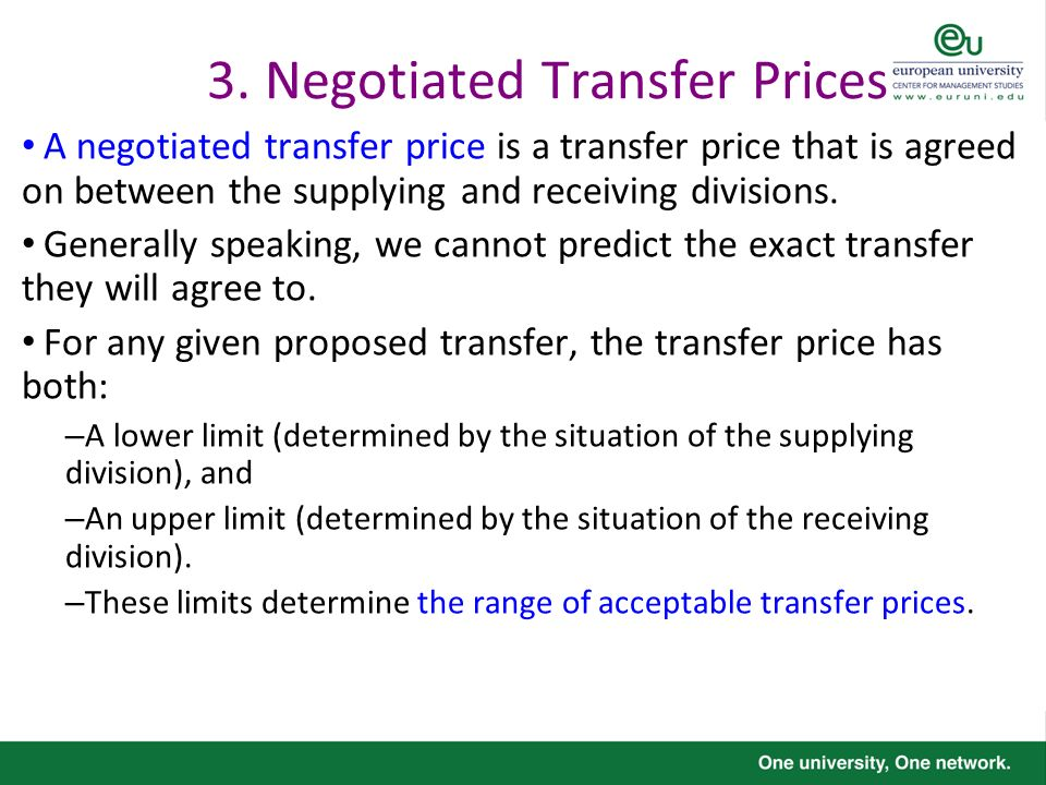 3. Negotiated Transfer Prices