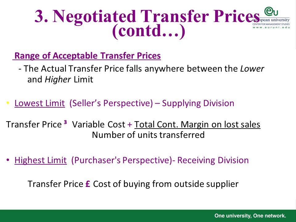 3. Negotiated Transfer Prices (contd…)