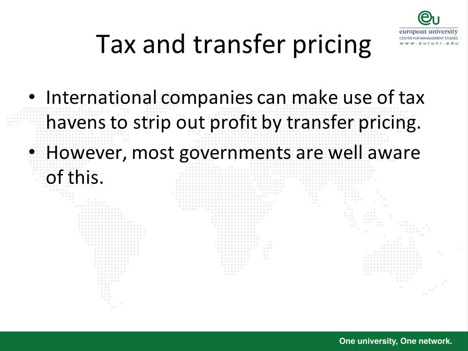 Tax and transfer pricing