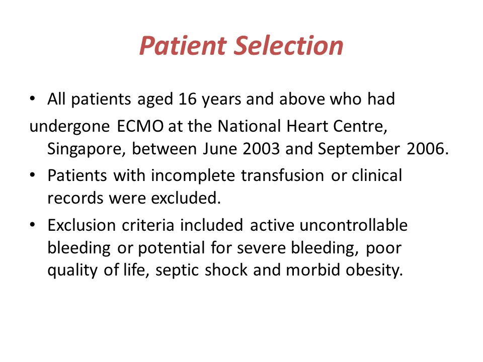 Patient Selection All patients aged 16 years and above who had