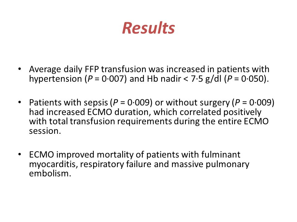 Results Average daily FFP transfusion was increased in patients with hypertension (P = 0·007) and Hb nadir < 7·5 g/dl (P = 0·050).