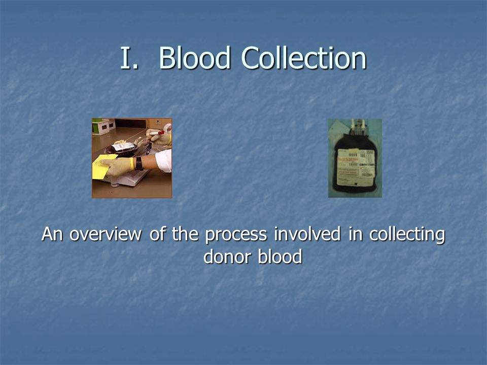 An overview of the process involved in collecting donor blood