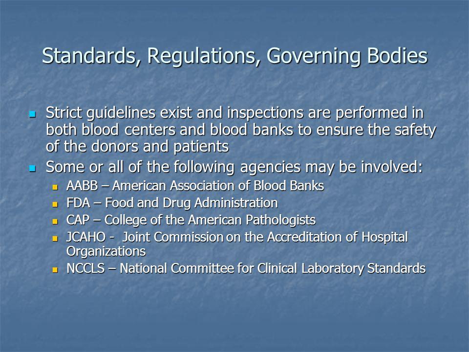 Standards, Regulations, Governing Bodies
