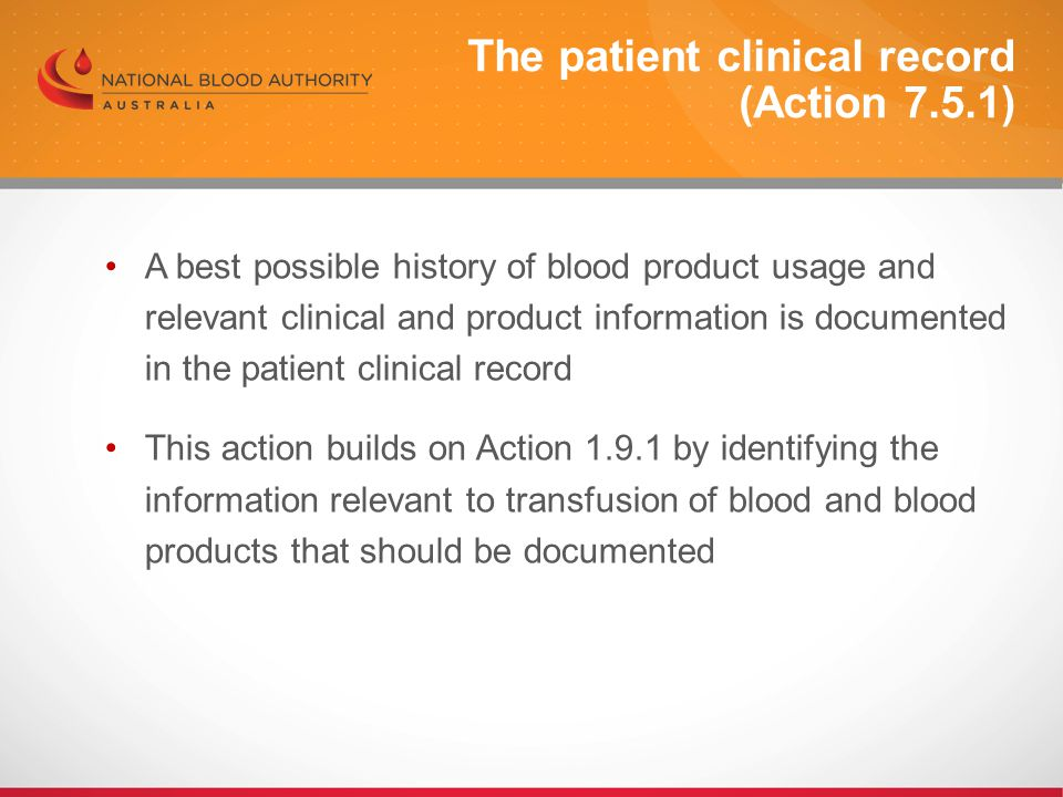 The patient clinical record (Action 7.5.1)
