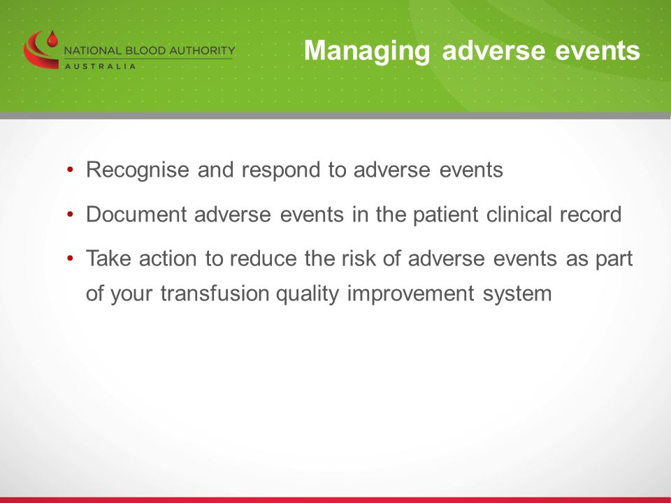 Managing adverse events