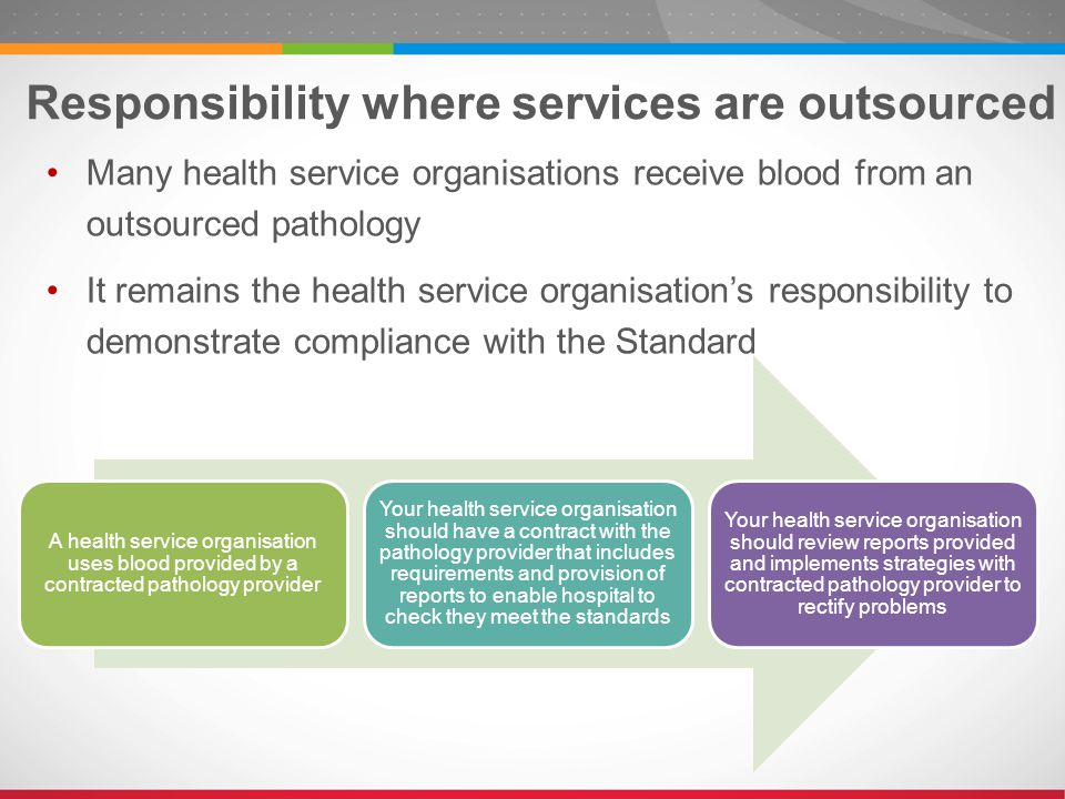 Responsibility where services are outsourced