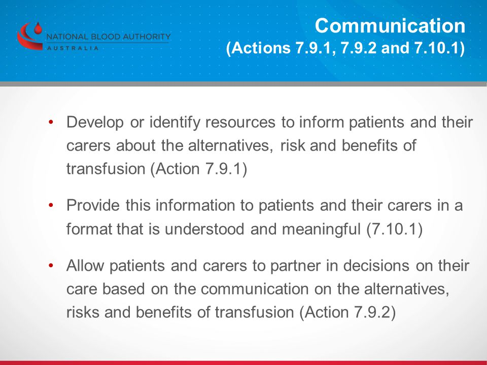 Communication (Actions 7.9.1, 7.9.2 and 7.10.1)