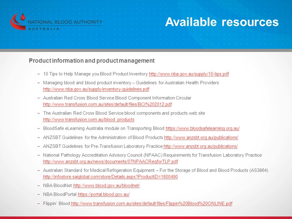 Available resources Product information and product management