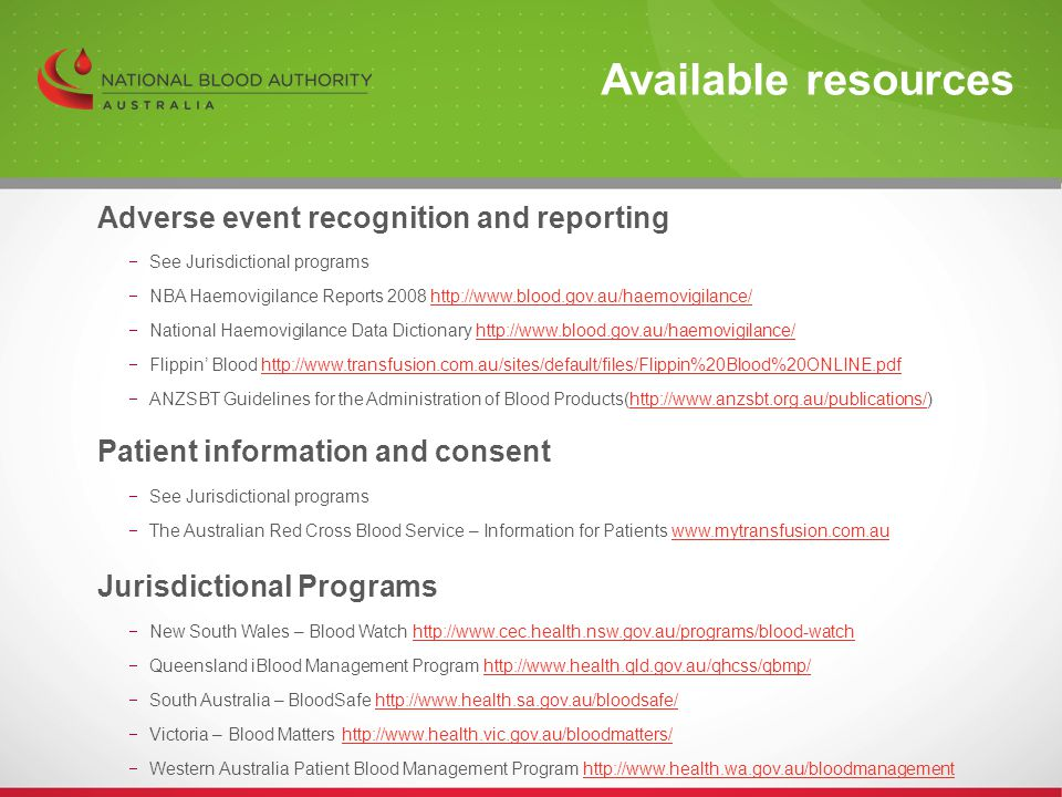 Available resources Adverse event recognition and reporting
