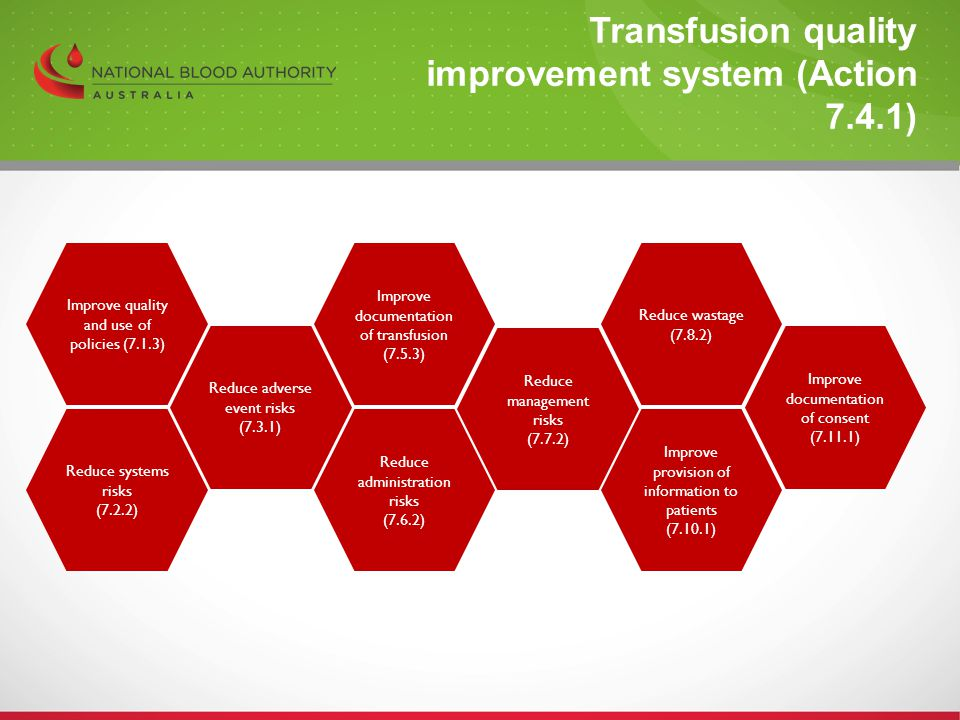 Transfusion quality improvement system (Action 7.4.1)