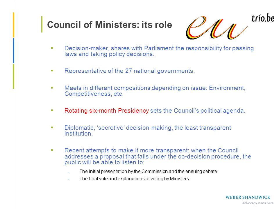 Council of Ministers: its role