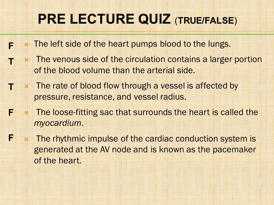 PRE LECTURE QUIZ (TRUE/FALSE)