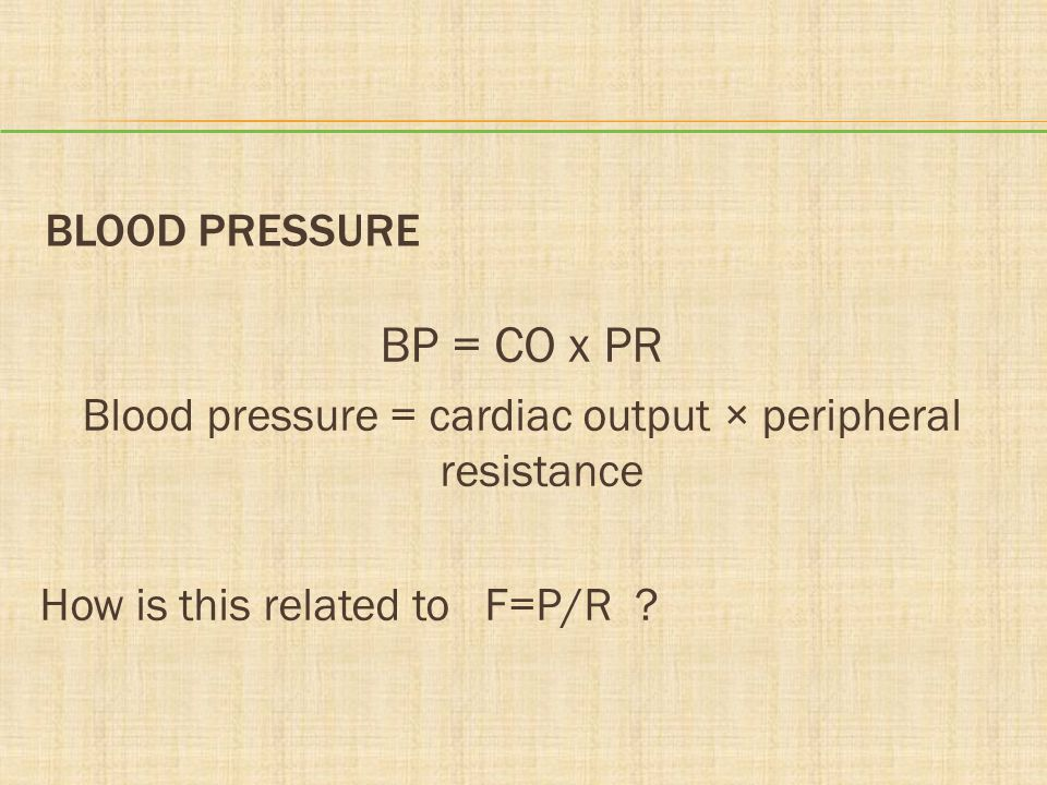 Blood pressure = cardiac output × peripheral resistance