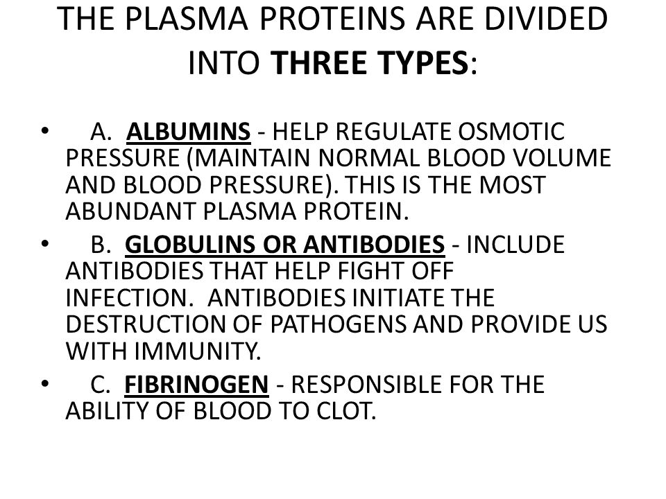 THE PLASMA PROTEINS ARE DIVIDED INTO THREE TYPES: