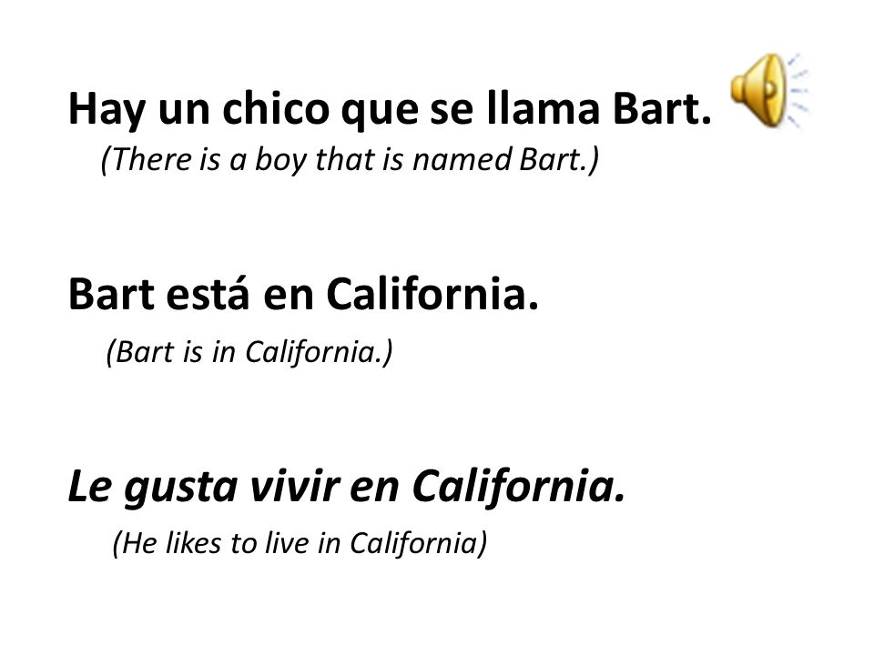 Hay un chico que se llama Bart. (There is a boy that is named Bart.)