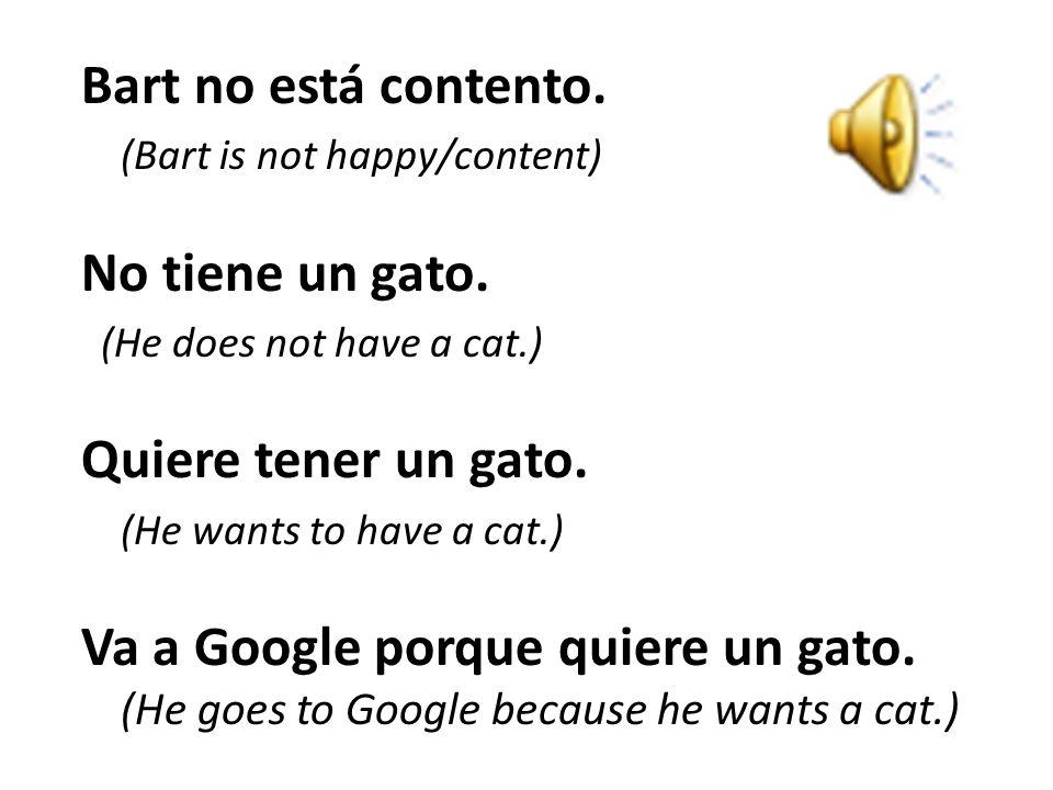 Bart no está contento. No tiene un gato. Quiere tener un gato.