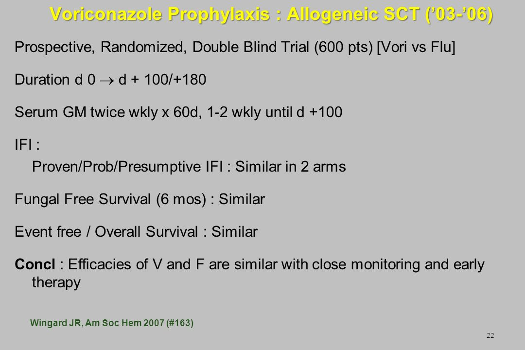 Voriconazole Prophylaxis : Allogeneic SCT ('03-'06)