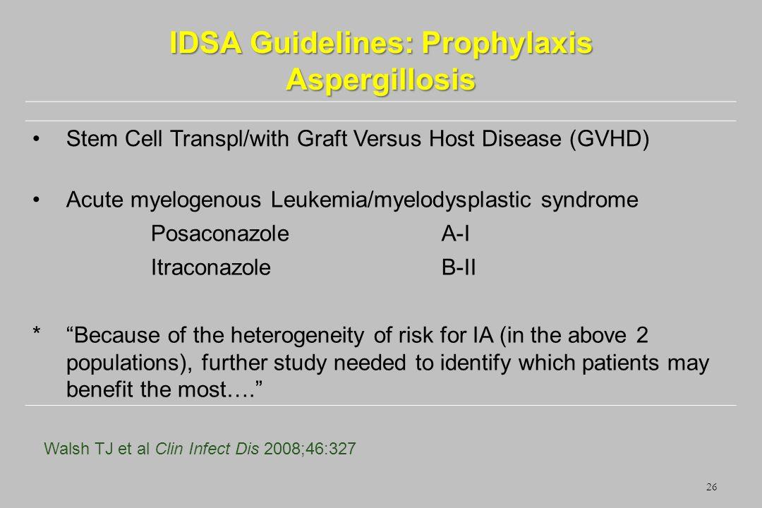IDSA Guidelines: Prophylaxis Aspergillosis