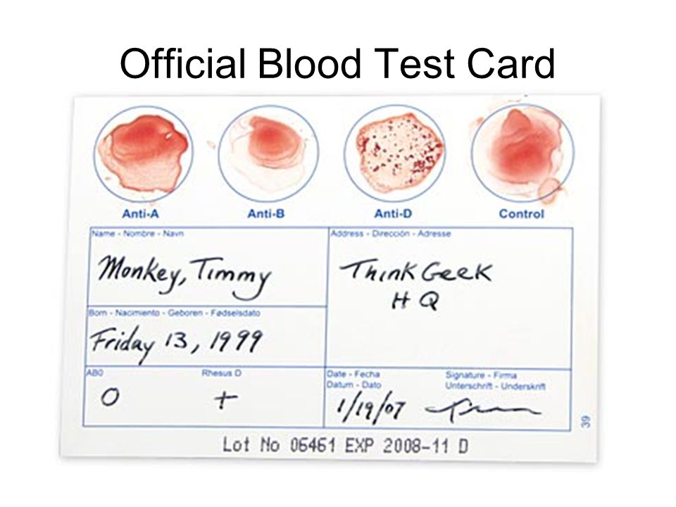 Official Blood Test Card