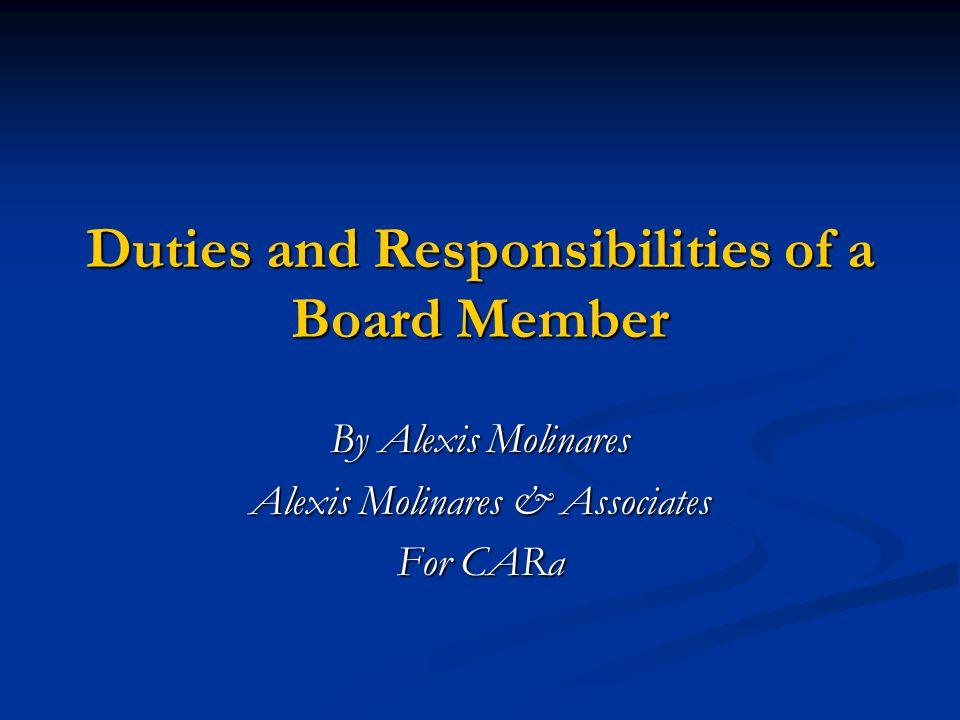 Duties and Responsibilities of a Board Member