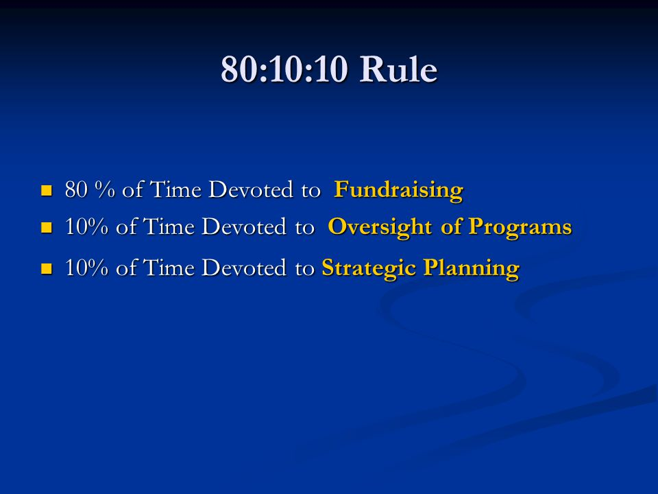 80:10:10 Rule 80 % of Time Devoted to Fundraising