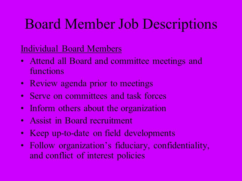 Board Member Job Descriptions
