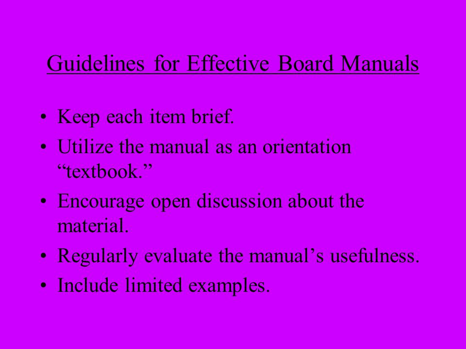 Guidelines for Effective Board Manuals