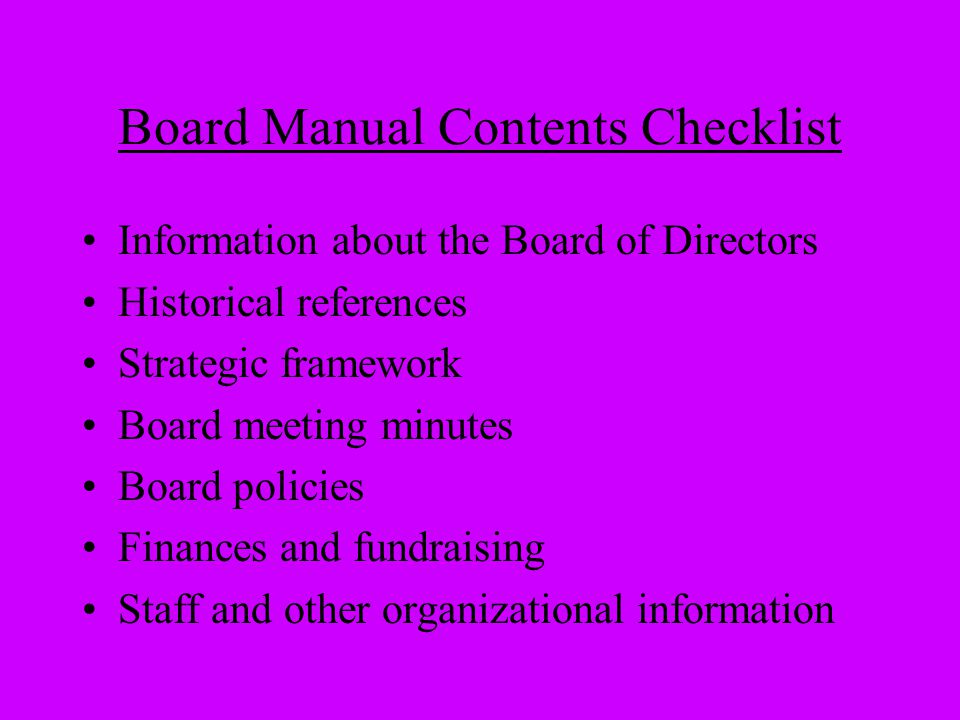 Board Manual Contents Checklist