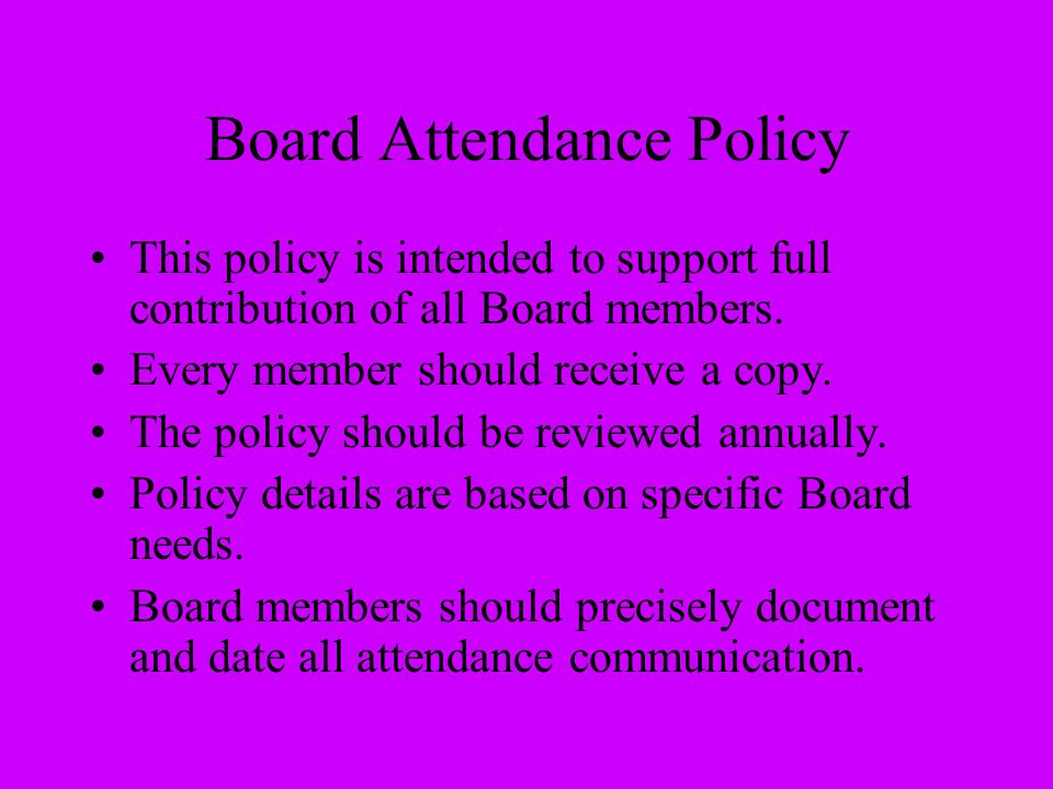Board Attendance Policy