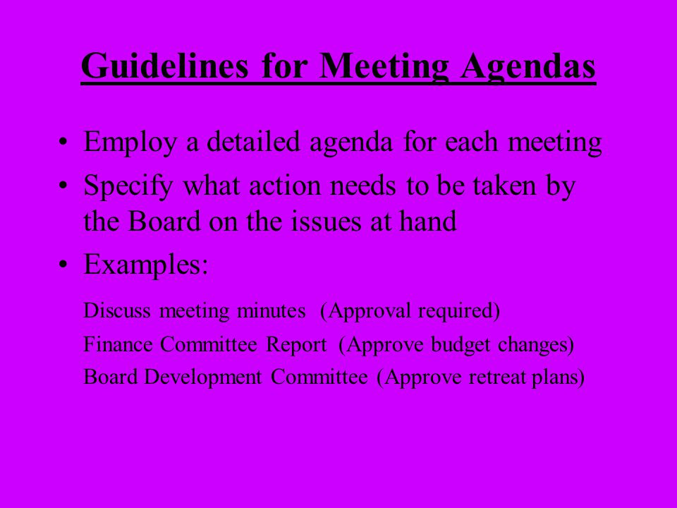 Guidelines for Meeting Agendas