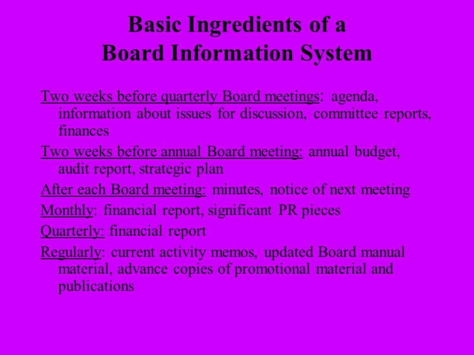 Basic Ingredients of a Board Information System