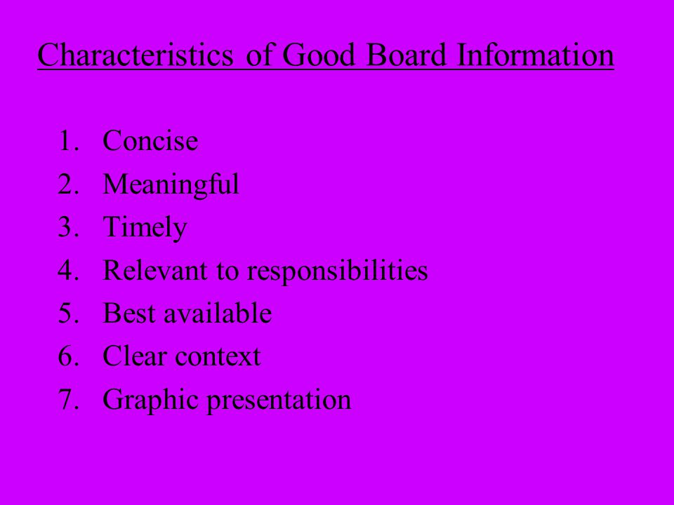 Characteristics of Good Board Information