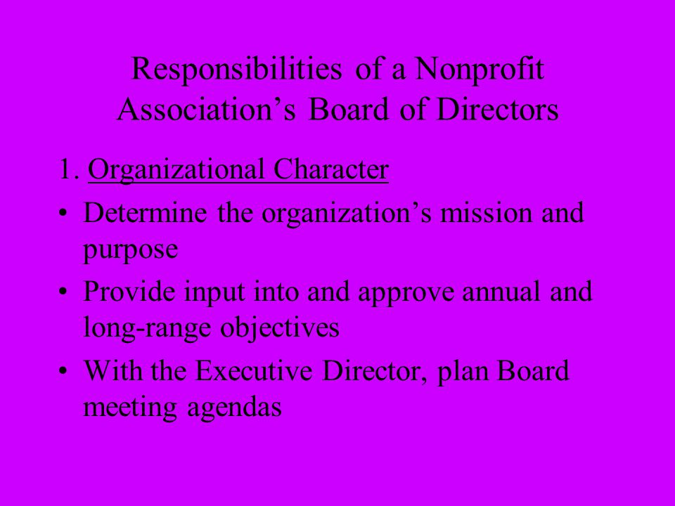 Responsibilities of a Nonprofit Association's Board of Directors