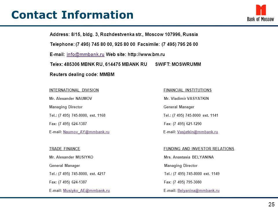 Contact InformationAddress: 8/15, bldg. 3, Rozhdestvenka str., Moscow 107996, Russia.