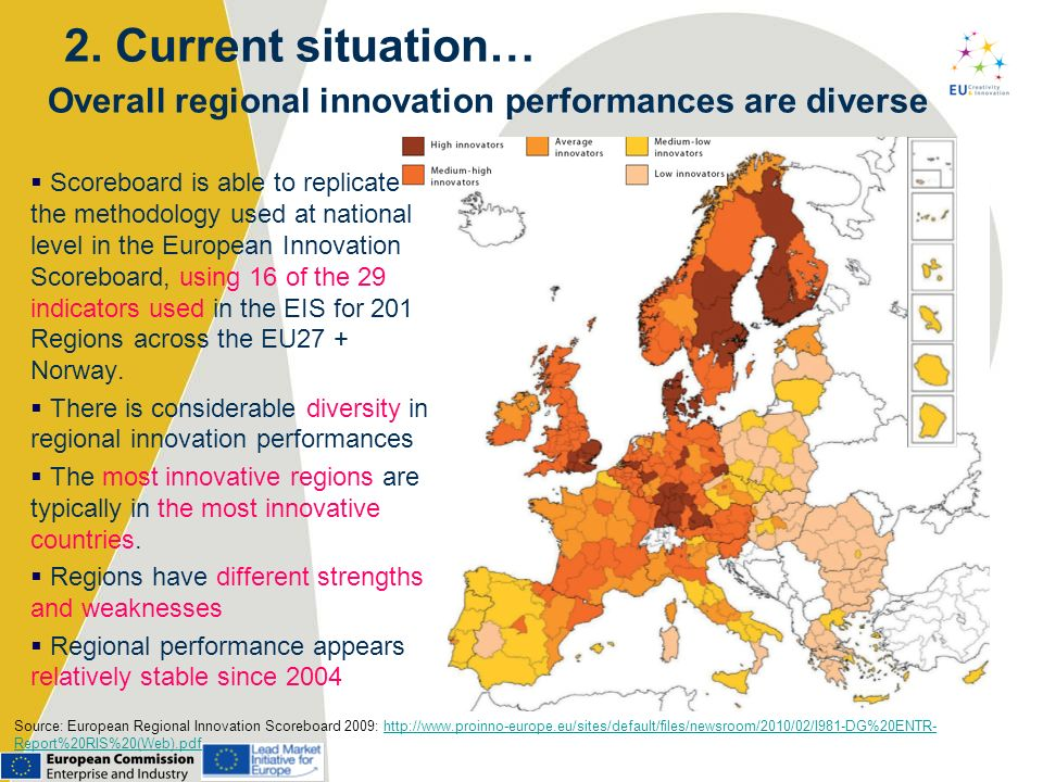 2. Current situation… Overall regional innovation performances are diverse.