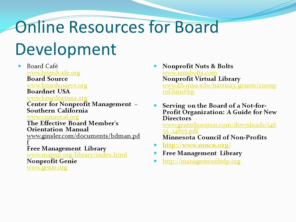 Online Resources for Board Development