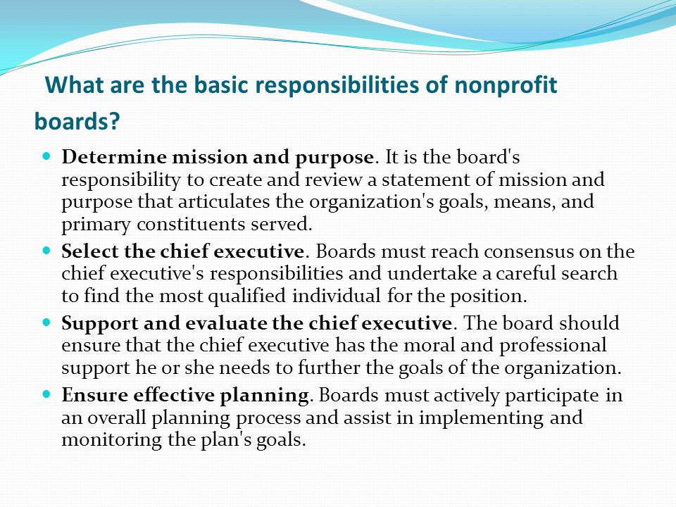 What are the basic responsibilities of nonprofit boards