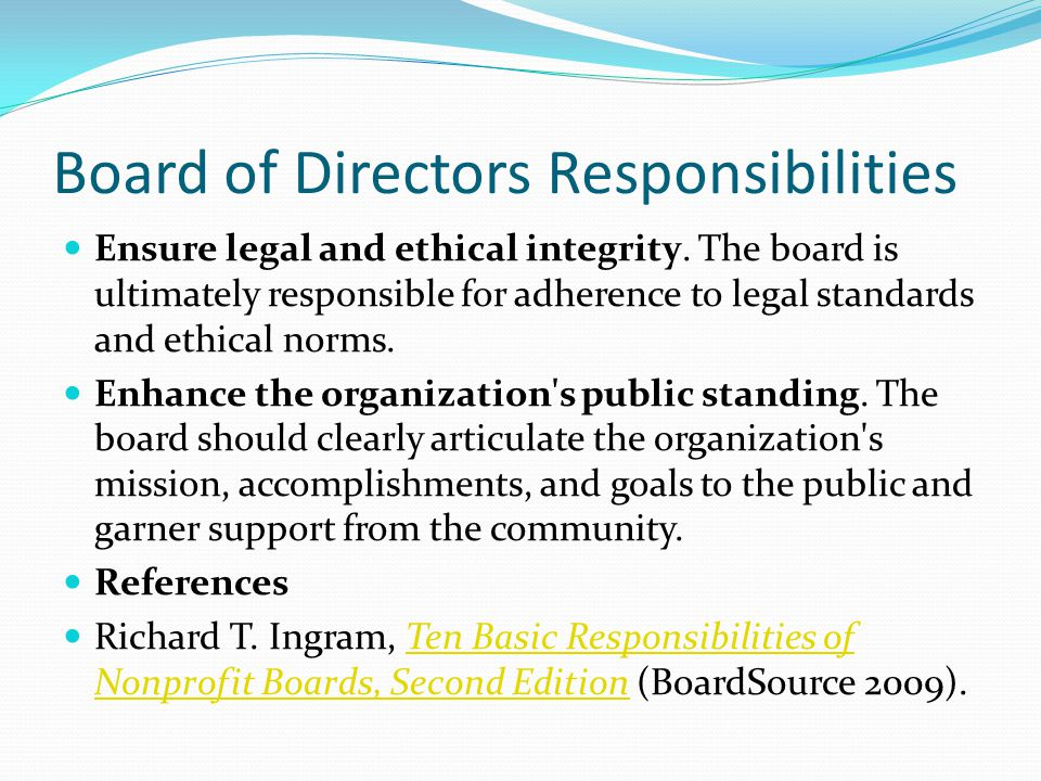 Board of Directors Responsibilities