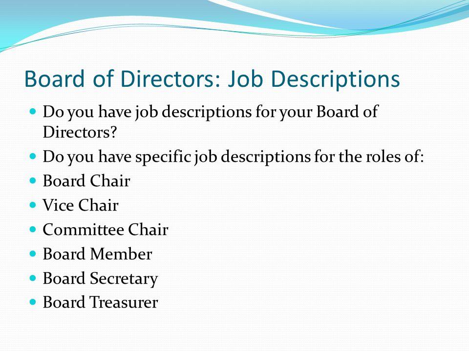 Board of Directors: Job Descriptions
