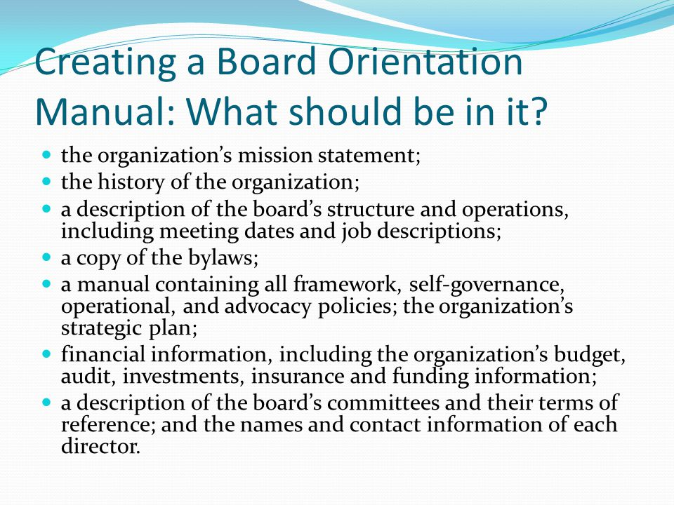 Creating a Board Orientation Manual: What should be in it